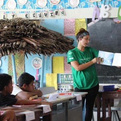 A Projects Abroad Childcare volunteer in Samoa hosts a lesson.
